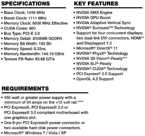 EVGA GTX 660 SC Specifications