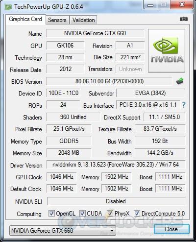 EVGA GTX 660 SC GPUz