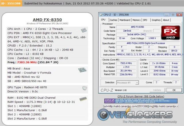 FX-8350 Valid at 7303.4 MHz