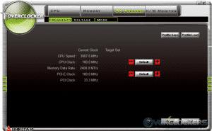 Toverclocker OC Tweaker - Frequency Sub-Tab