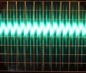 7 V rail, full unit load, 0 W 7 V load. Scope at 5 milliseconds / 10 mV. ~78 mV of ripple