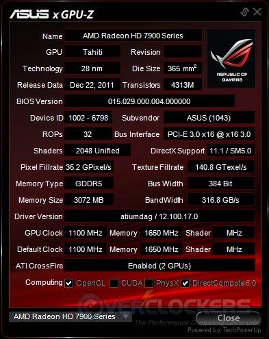 ASUS GPUz Stock