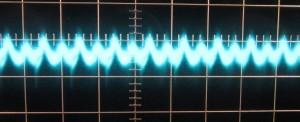 12 V Ripple, cold, zero load, scope @ 10 µs / 10 mV, ~18 mV of ripple