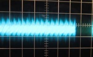 3V3 Ripple, cold, zero load, scope @ 5 ms / 10 mV, ~30mV of ripple