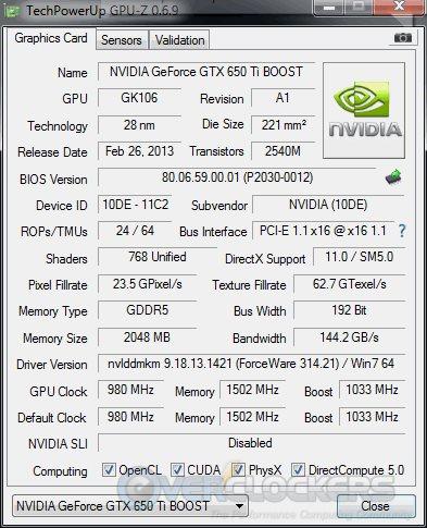 NVIDIA GTX 650 Ti BOOST Stock GPUz