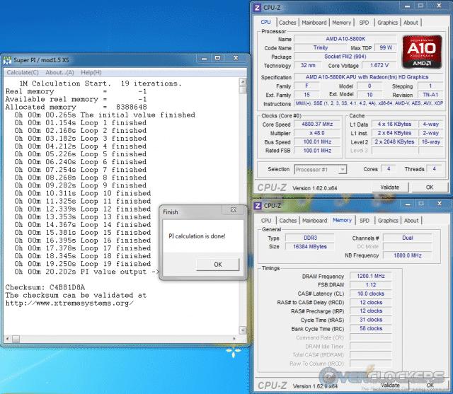 SuperPi 1M @ 4.8 GHz/2400 MHz Mem