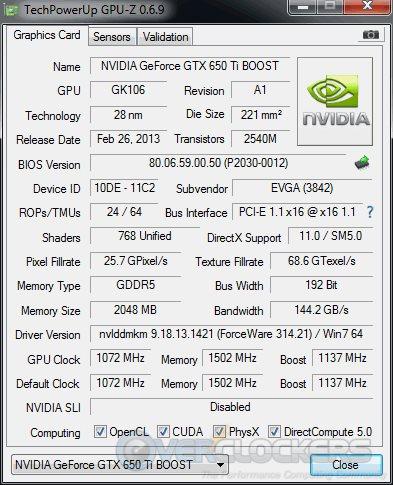 EVGA GTX 650 Ti BOOST SC GPUz