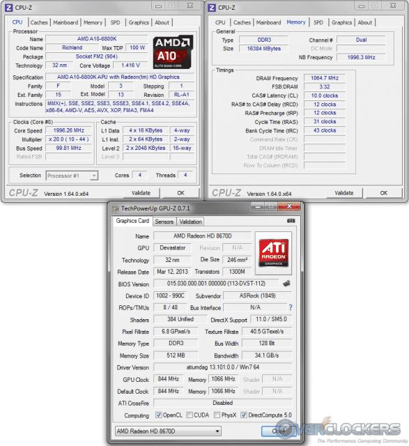 CPU-z and GPU-z Readings
