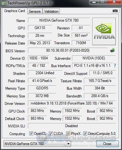 GTX 780 Stock GPUz
