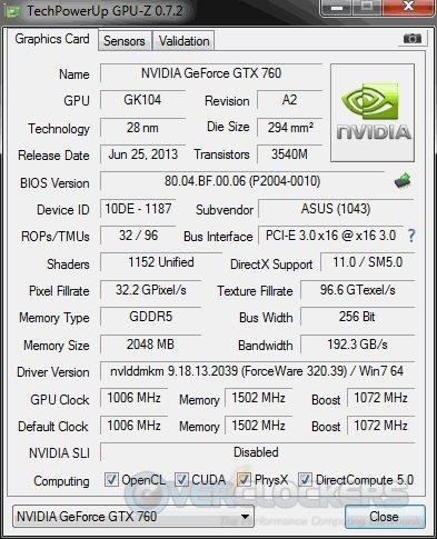 ASUS GTX 760 DirectCU II Specs