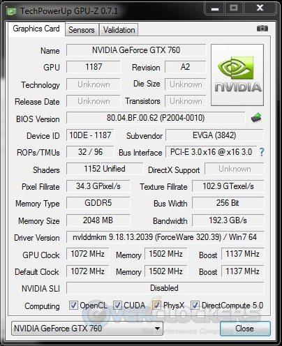 EVGA GTX 760 SC Stock GPUz