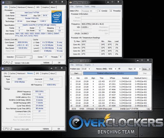 4.6/4.4 GHz CPU/Cache Overclock