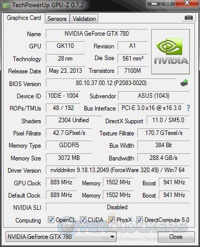 GTX 780 DirectCU II OC GPUz