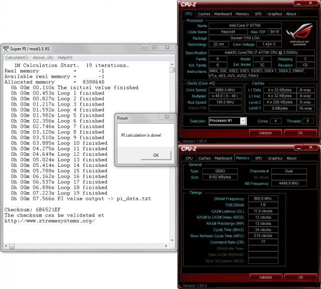 SuperPi 1M @ 4.8 Ghz / 1600 Mhz