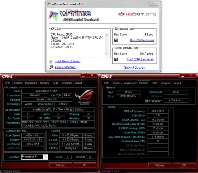 WPrime 32M @ 4.8 GHz / 1600 MHz Memory
