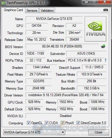 ASUS GTX 670 Mini GPUz