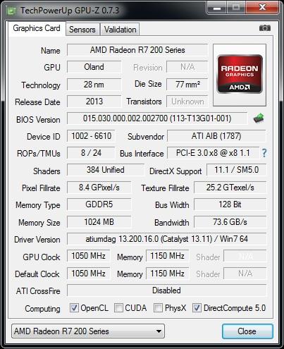 GPUz v7.3 - HIS R7 250