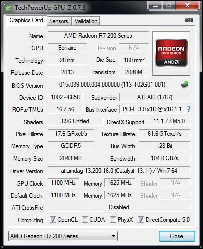GPUz v7.3 - HIS R7 260X