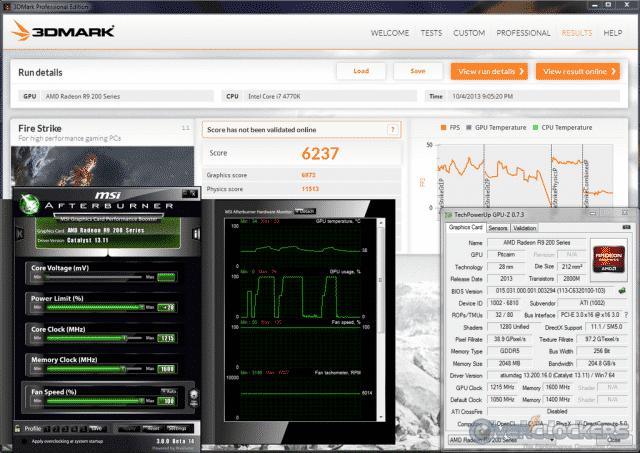 3DMark Fire Strike @ 1215 GPU / 1600 Mem