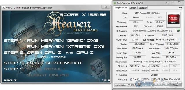 HWBot Heaven @ 1250 GPU / 1500 Memory