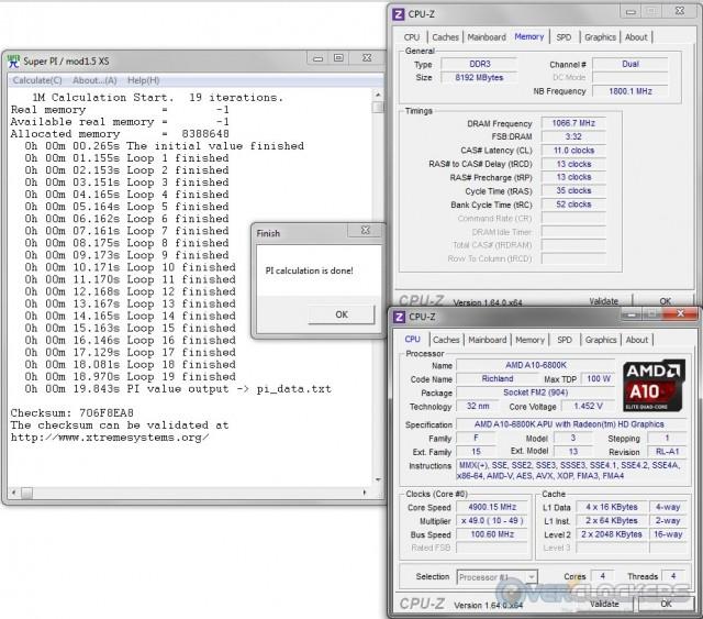 SuperPI 1M @ 4.9 GHz APU / 2133 MHz Memory