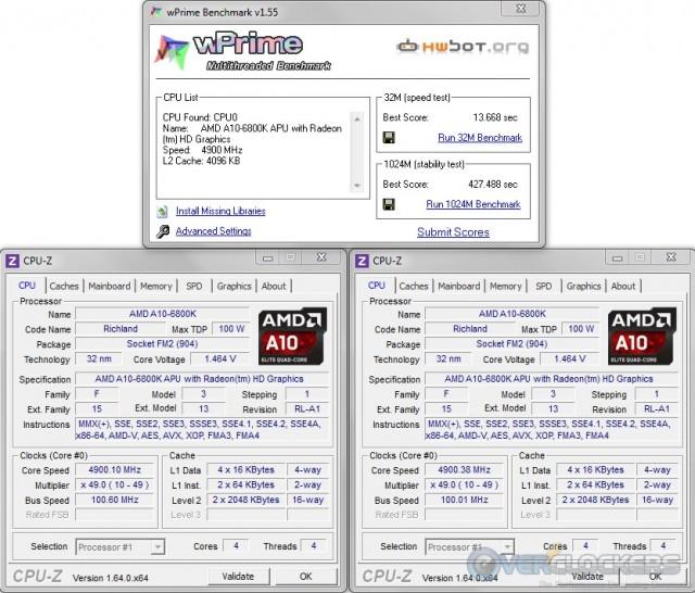 WPrime 32M/1024M @ 4.9 GHz APU / 2133 MHz Memory