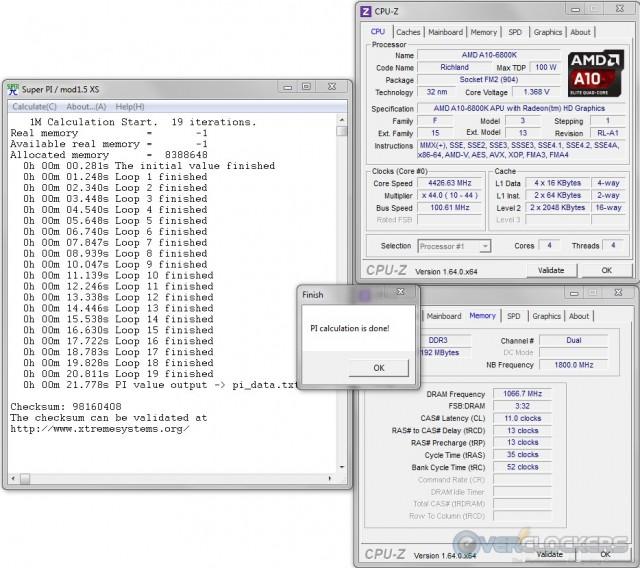 SuperPI 1M @ 4.4 GHz APU / 2133 MHz Memory