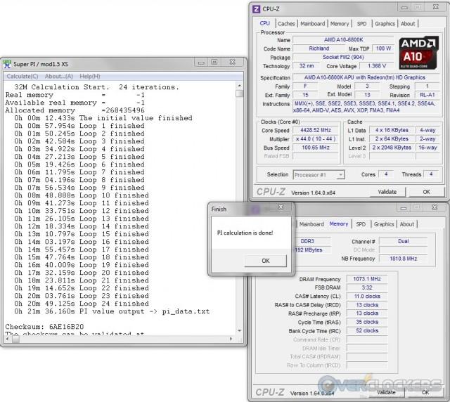 SuperPI 32M @ 4.4 GHz APU / 2133 MHz Memory