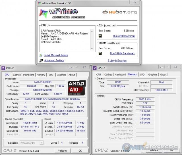 WPrime 32M/1024M @ 4.4 GHz APU / 2133 MHz Memory