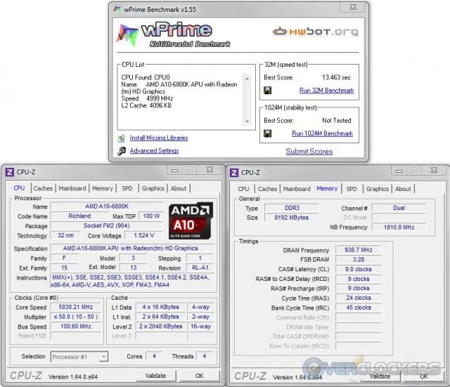 WPrime 32M @ 5.0 GHz APU / 1866 MHz Memory