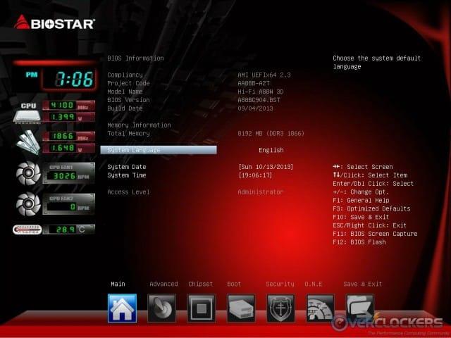 UEFI BIOS Main Tab