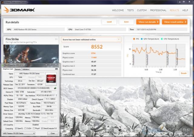 3DMark Fire Strike @ 1250 GPU/1700 Memory