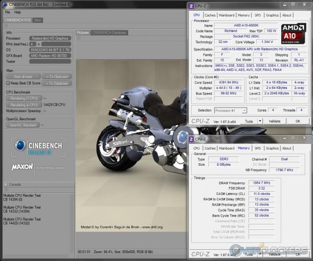 Cinebench R10 @ 4.4 GHz APU/2133 MHz Memory
