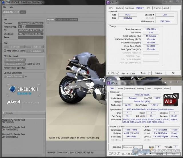 Cinebench R10 @ 4.9 GHz APU/2133 MHz Memory