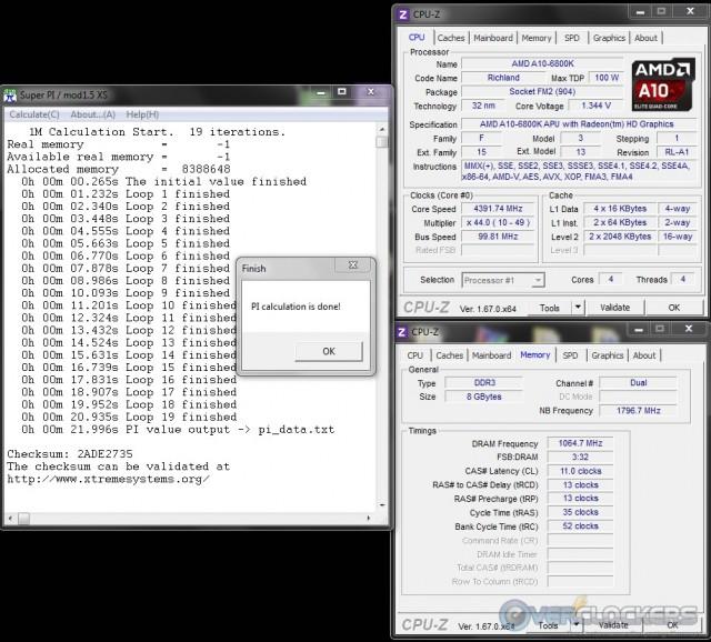 SuperPI 1M @ 4.4 GHz APU/2133 MHz Memory