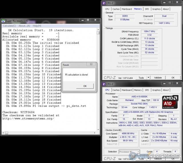 SuperPI 1M @ 4.9 GHz APU/2133 MHz Memory