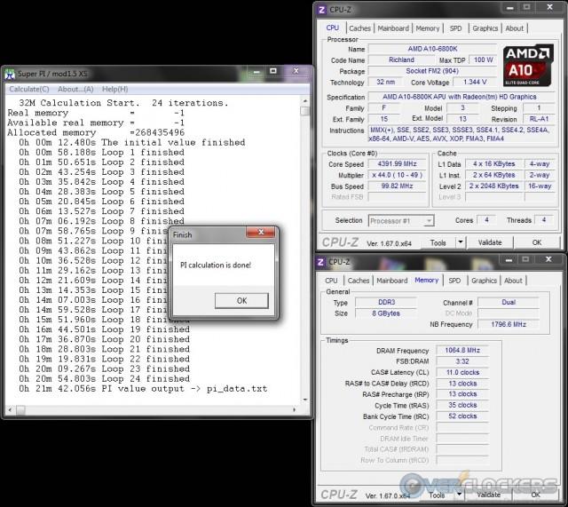 SuperPI 32M @ 4.9 GHz APU/2133 MHz Memory