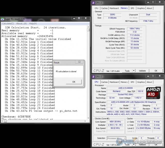 SuperPI 32M  4.9 GHz APU/2133 MHz Memory