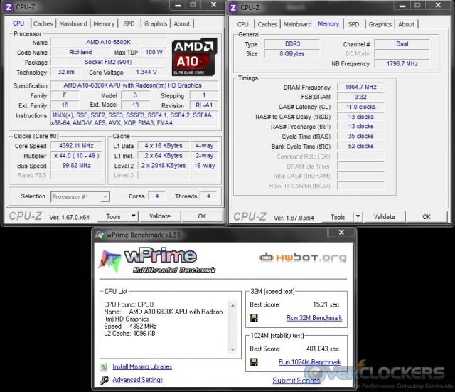 WPrime 32M/1024M @ 4.4 GHz APU/2133 MHz Memory