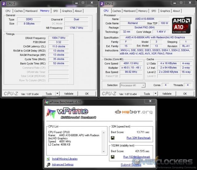 WPrime 32M/1024M @ 4.9 GHz APU/2133 MHz Memory