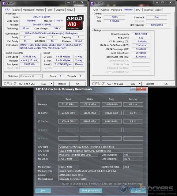 AIDA64 Cache & Memory @ 4.4 GHz APU/2133 MHz Memory