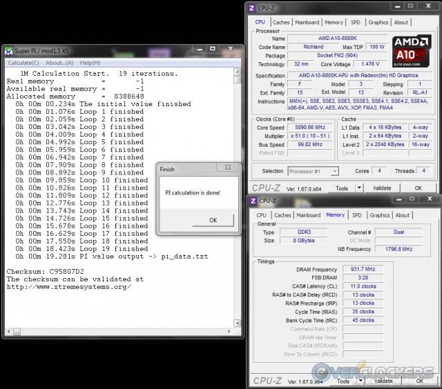 SuperPI 1M @ 5.1 GHz APU/1866 MHz Memory