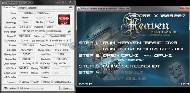 HWBot Heaven @ 1225 GPU/1550 Memory
