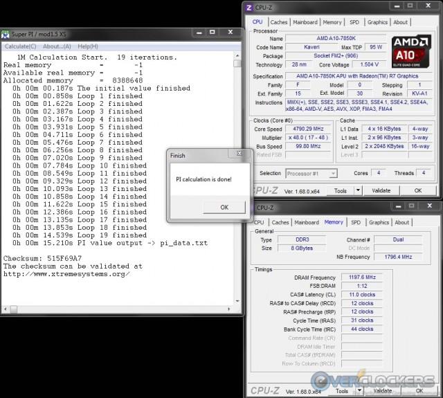 SuperPi 1M @ 4.8 GHz CPU / 1020 Mhz iGPU