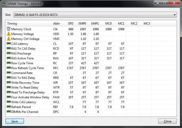 TridentX 16GB 2133 CL9 - AIDA64 SPD/XMP