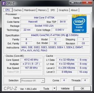 CPUz - BCLK @ 167 MHz