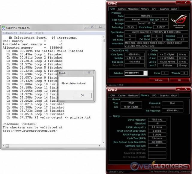 SuperPi 1M @ 4.9 GHz / 1600 MHz Memory
