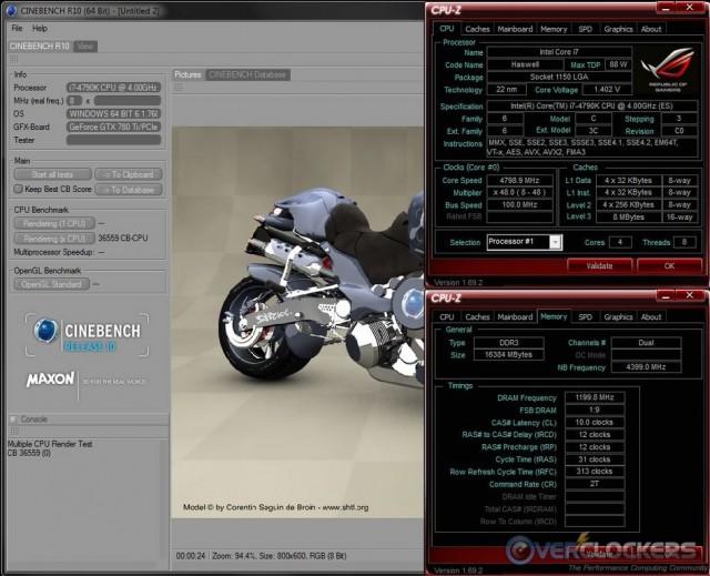 Cinebench R10 @ 4.8 GHz / 2400 MHz Memory