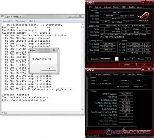 SuperPi 1M @ 4.8 GHz / 2400 MHz Memory