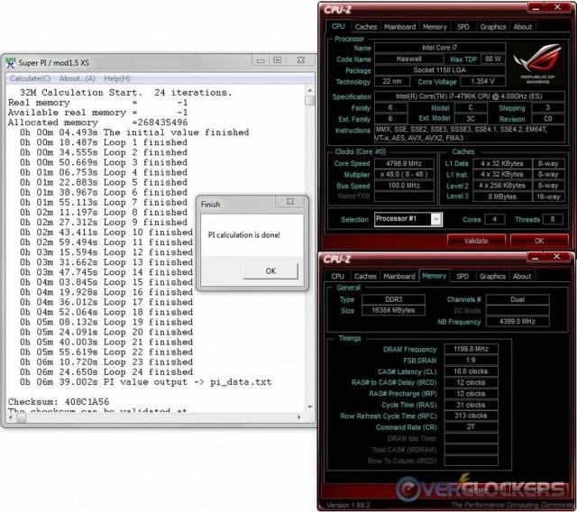 SuperPi 32M @ 4.8 GHz / 2400 MHz Memory